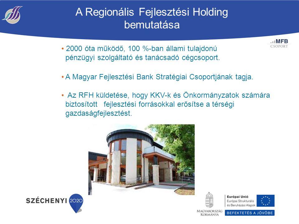 A Regionális Fejlesztési Holding bemutatása 2000 óta működő, 100 %-ban állami tulajdonú pénzügyi szolgáltató és tanácsadó cégcsoport.