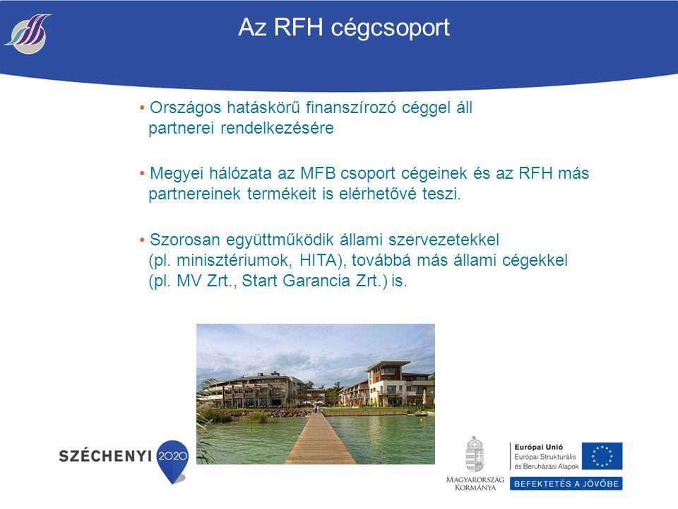 Az RFH cégcsoport Országos hatáskörű finanszírozó céggel áll partnerei rendelkezésére Megyei hálózata az MFB csoport cégeinek és az RFH más partnereinek termékeit is elérhetővé teszi.