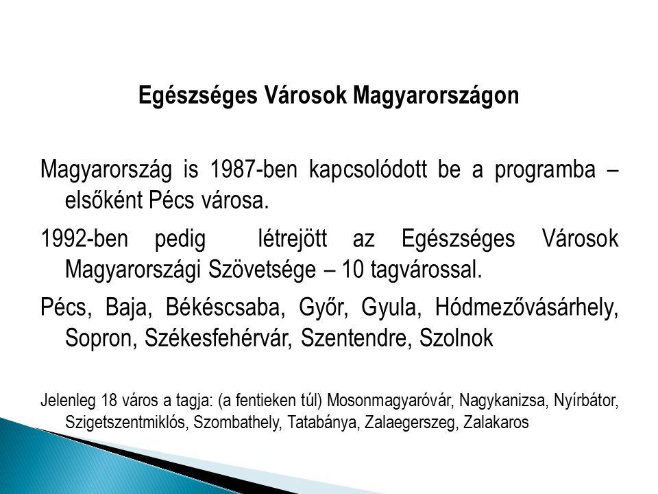 Egészséges Városok Magyarországon Magyarország is 1987-ben kapcsolódott be a programba – elsőként Pécs városa.
