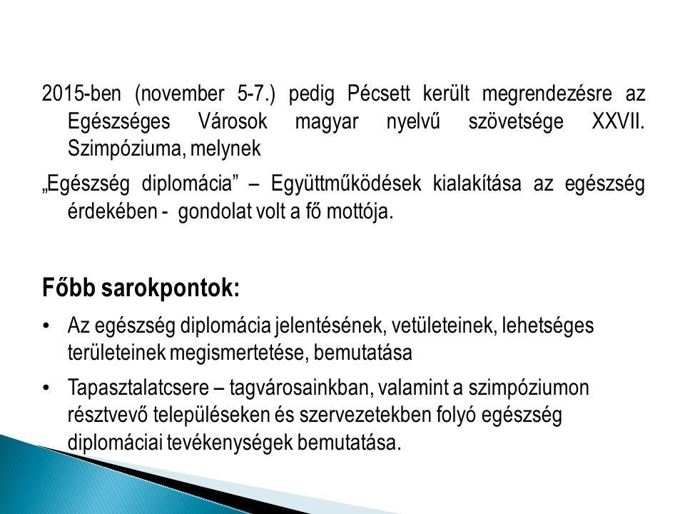 2015-ben (november 5-7.) pedig Pécsett került megrendezésre az Egészséges Városok magyar nyelvű szövetsége XXVII.