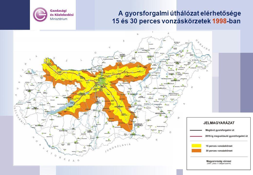 A gyorsforgalmi úthálózat elérhetősége 15 és 30 perces vonzáskörzetek 1998-ban
