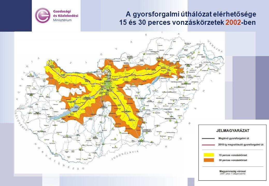 A gyorsforgalmi úthálózat elérhetősége 15 és 30 perces vonzáskörzetek 2002-ben