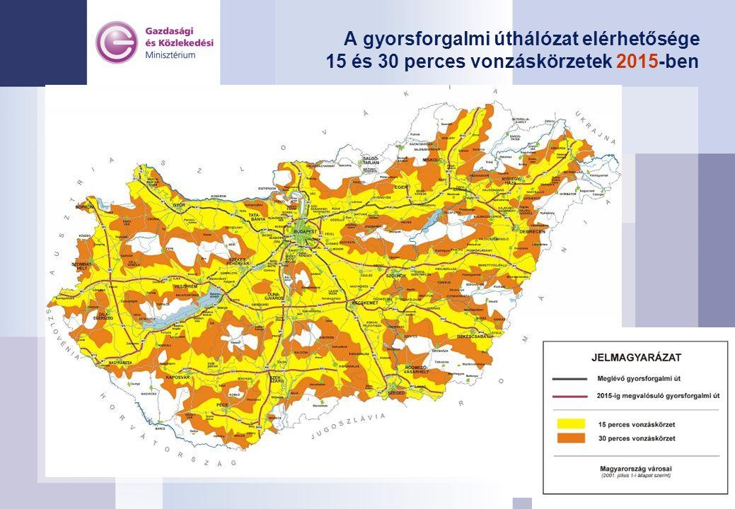 A gyorsforgalmi úthálózat elérhetősége 15 és 30 perces vonzáskörzetek 2015-ben