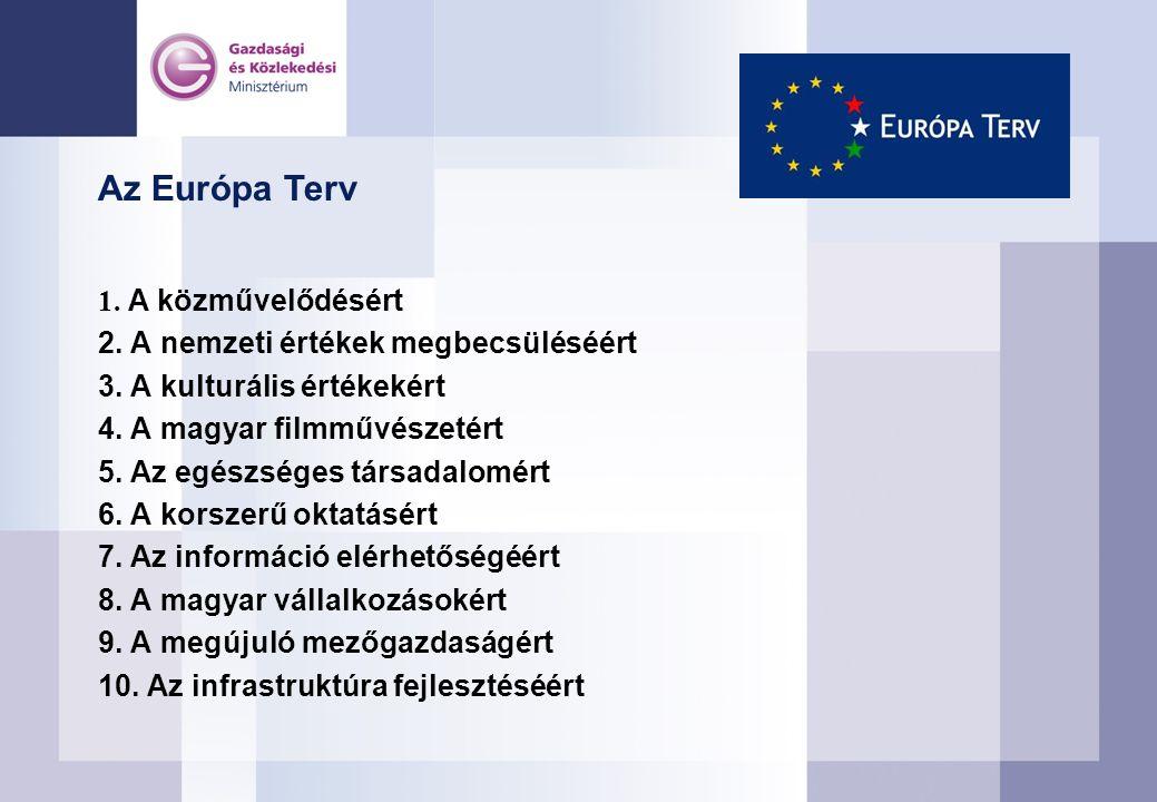 Az Európa Terv 1. A közművelődésért 2. A nemzeti értékek megbecsüléséért 3.
