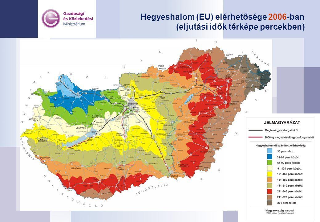 Hegyeshalom (EU) elérhetősége 2006-ban (eljutási idők térképe percekben)