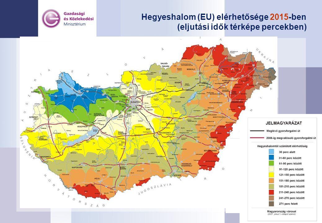 Hegyeshalom (EU) elérhetősége 2015-ben (eljutási idők térképe percekben)
