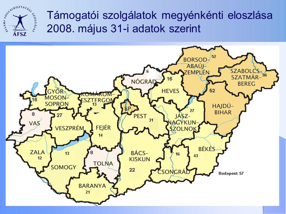 Támogatói szolgálatok megyénkénti eloszlása 2008. május 31-i adatok szerint