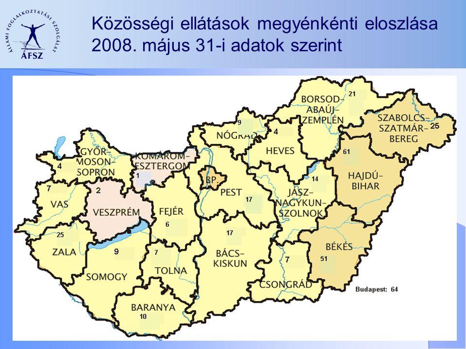 Közösségi ellátások megyénkénti eloszlása 2008. május 31-i adatok szerint