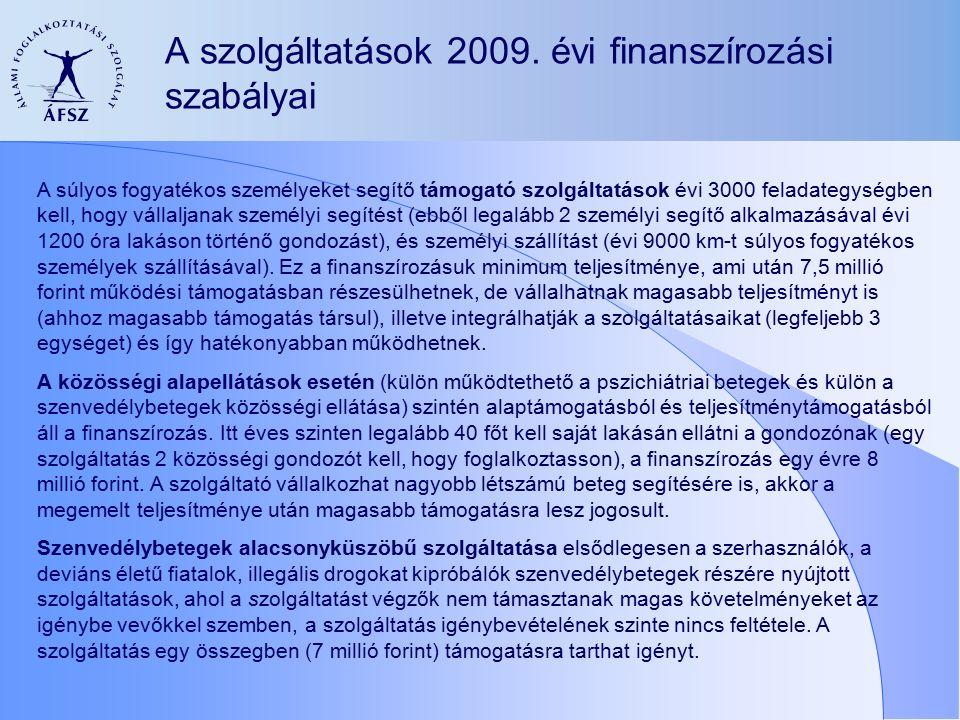 A szolgáltatások 2009.