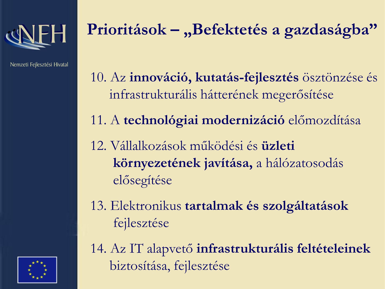 10. Az innováció, kutatás-fejlesztés ösztönzése és infrastrukturális hátterének megerősítése 11.