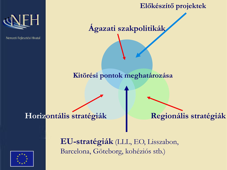 Kitörési pontok meghatározása EU-stratégiák (LLL, EO, Lisszabon, Barcelona, Göteborg, kohéziós stb.) Előkészítő projektek