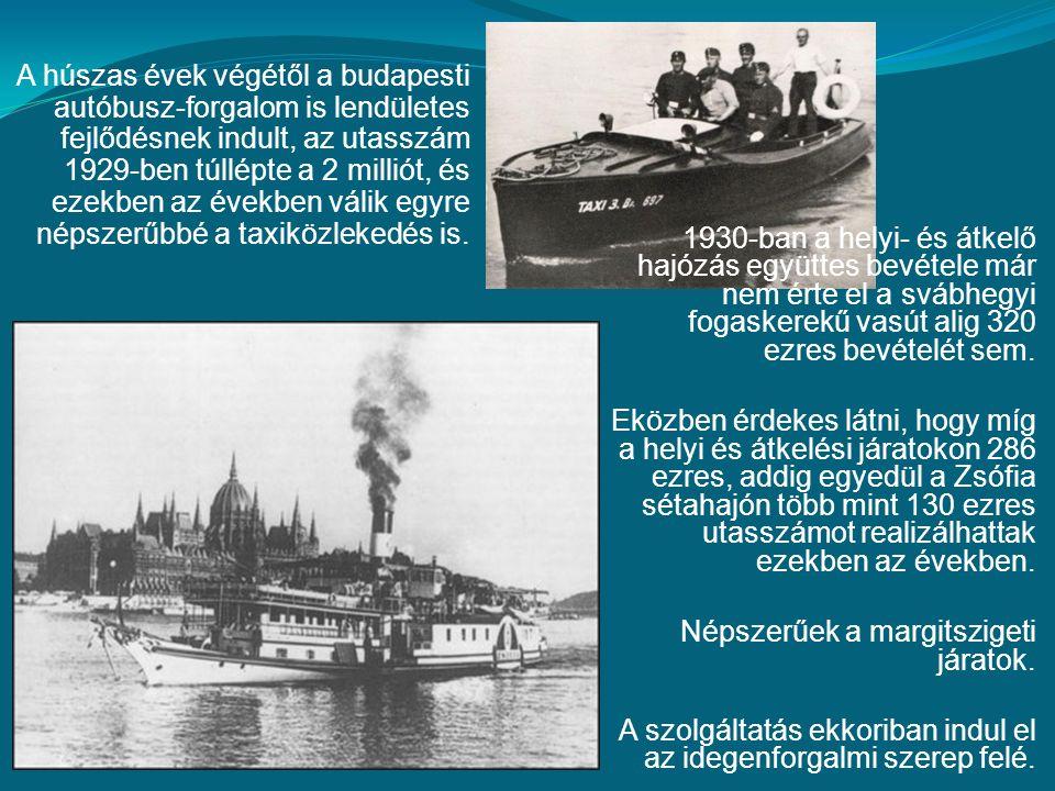 1930-ban a helyi- és átkelő hajózás együttes bevétele már nem érte el a svábhegyi fogaskerekű vasút alig 320 ezres bevételét sem.