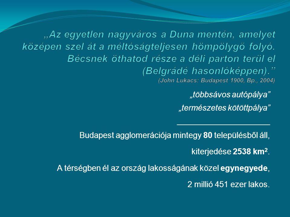 """""""többsávos autópálya """"természetes kötöttpálya ______________________ Budapest agglomerációja mintegy 80 településből áll, kiterjedése 2538 km 2."""