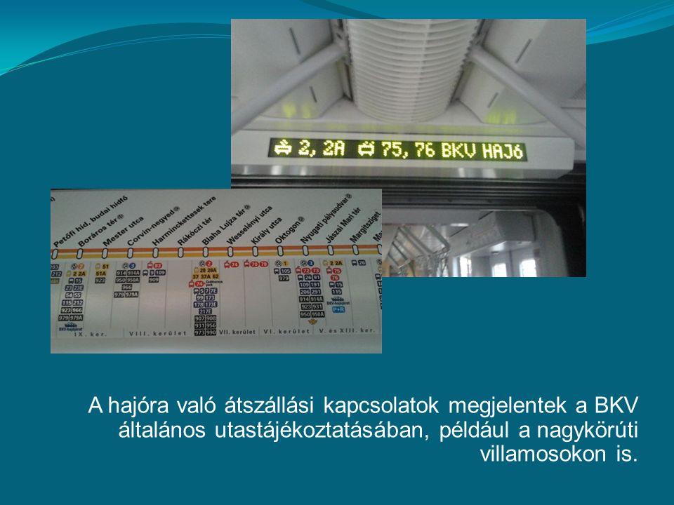 A hajóra való átszállási kapcsolatok megjelentek a BKV általános utastájékoztatásában, például a nagykörúti villamosokon is.