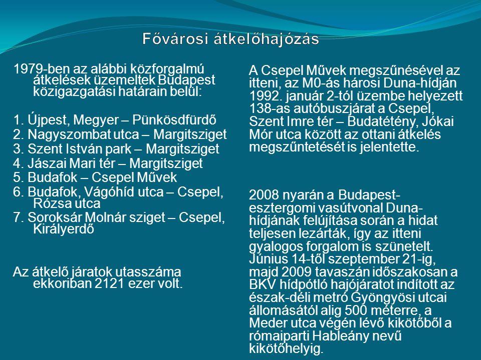 1979-ben az alábbi közforgalmú átkelések üzemeltek Budapest közigazgatási határain belül: 1.