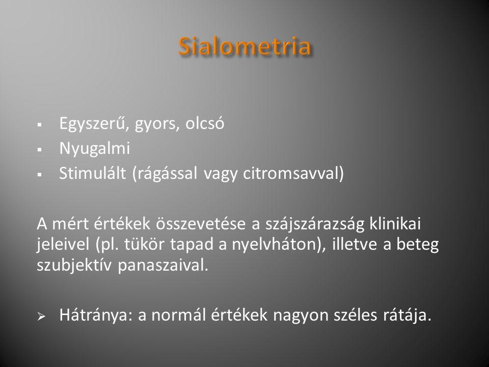  Egyszerű, gyors, olcsó  Nyugalmi  Stimulált (rágással vagy citromsavval) A mért értékek összevetése a szájszárazság klinikai jeleivel (pl.