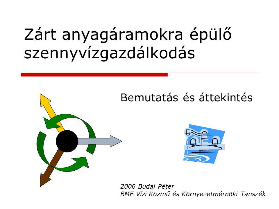 Zárt anyagáramokra épülő szennyvízgazdálkodás Bemutatás és áttekintés 2006 Budai Péter BME Vízi Közmű és Környezetmérnöki Tanszék