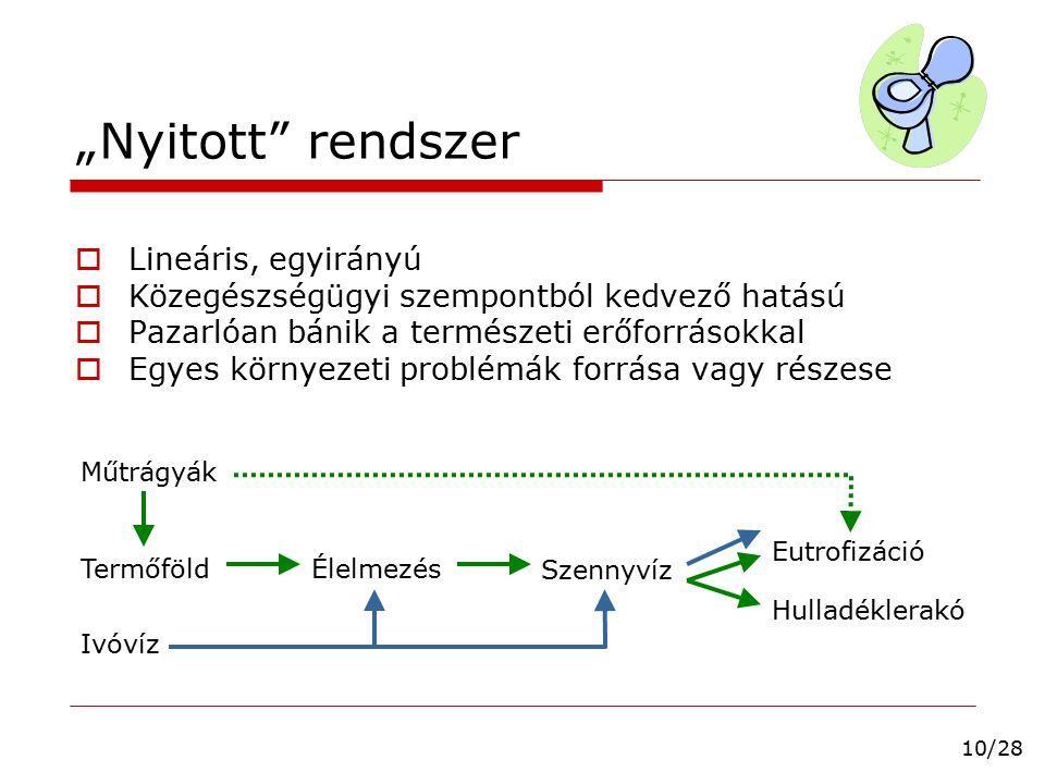 """""""Nyitott"""" rendszer  Lineáris, egyirányú  Közegészségügyi szempontból kedvező hatású  Pazarlóan bánik a természeti erőforrásokkal  Egyes környezeti"""