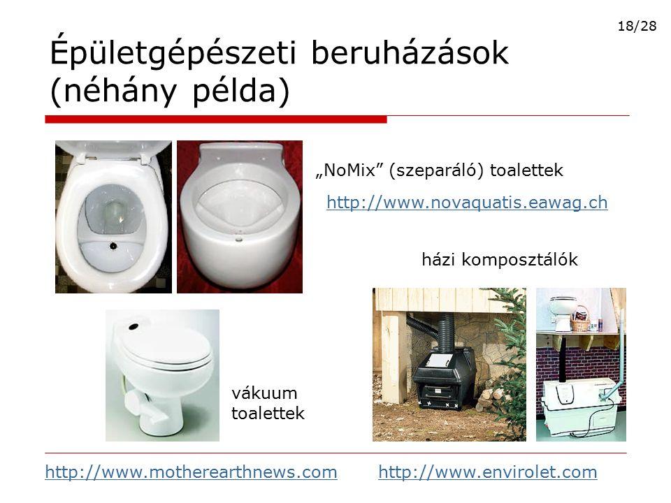 """Épületgépészeti beruházások (néhány példa) """"NoMix"""" (szeparáló) toalettek házi komposztálók vákuum toalettek http://www.novaquatis.eawag.ch http://www."""