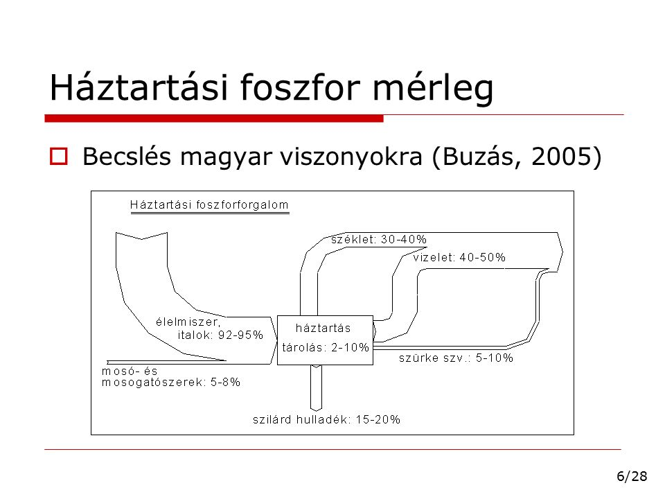 Háztartási foszfor mérleg  Becslés magyar viszonyokra (Buzás, 2005) 6/28