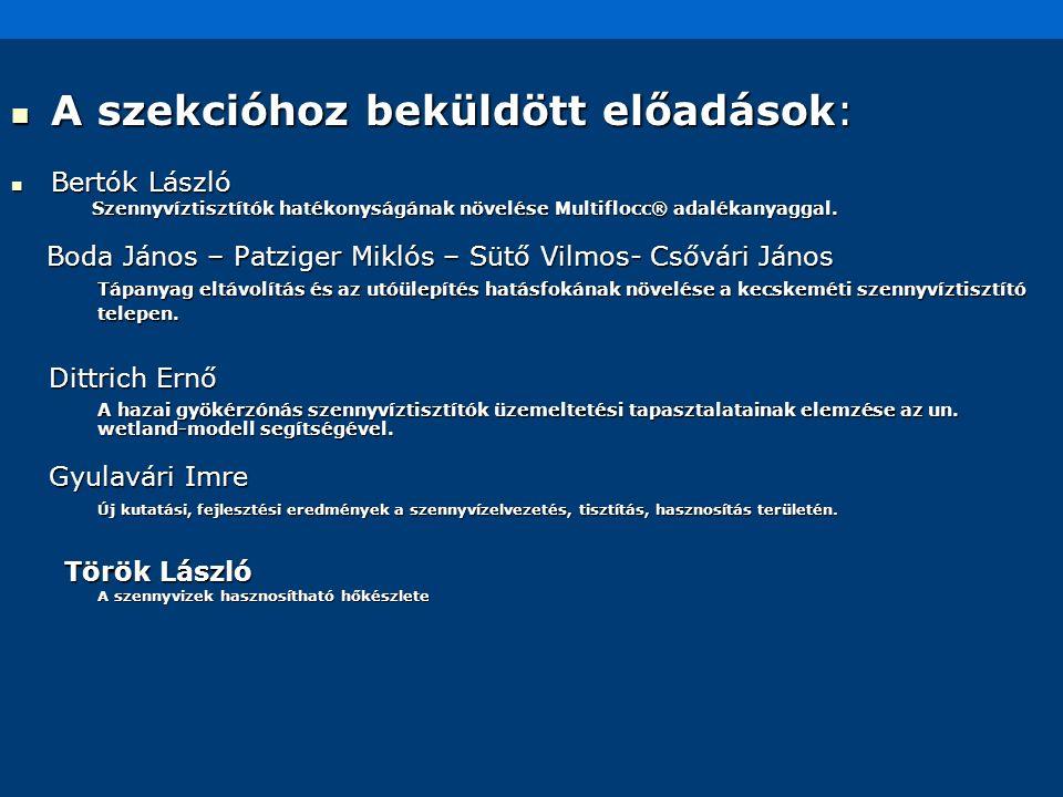 A szekcióhoz beküldött előadások: A szekcióhoz beküldött előadások: Bertók László Bertók László Szennyvíztisztítók hatékonyságának növelése Multiflocc
