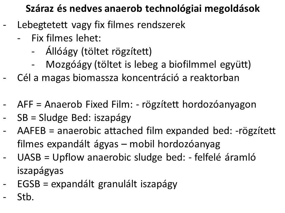 Száraz és nedves anaerob technológiai megoldások -Lebegtetett vagy fix filmes rendszerek -Fix filmes lehet: -Állóágy (töltet rögzített) -Mozgóágy (töltet is lebeg a biofilmmel együtt) -Cél a magas biomassza koncentráció a reaktorban -AFF = Anaerob Fixed Film: - rögzített hordozóanyagon -SB = Sludge Bed: iszapágy -AAFEB = anaerobic attached film expanded bed: -rögzített filmes expandált ágyas – mobil hordozóanyag -UASB = Upflow anaerobic sludge bed: - felfelé áramló iszapágyas -EGSB = expandált granulált iszapágy -Stb.