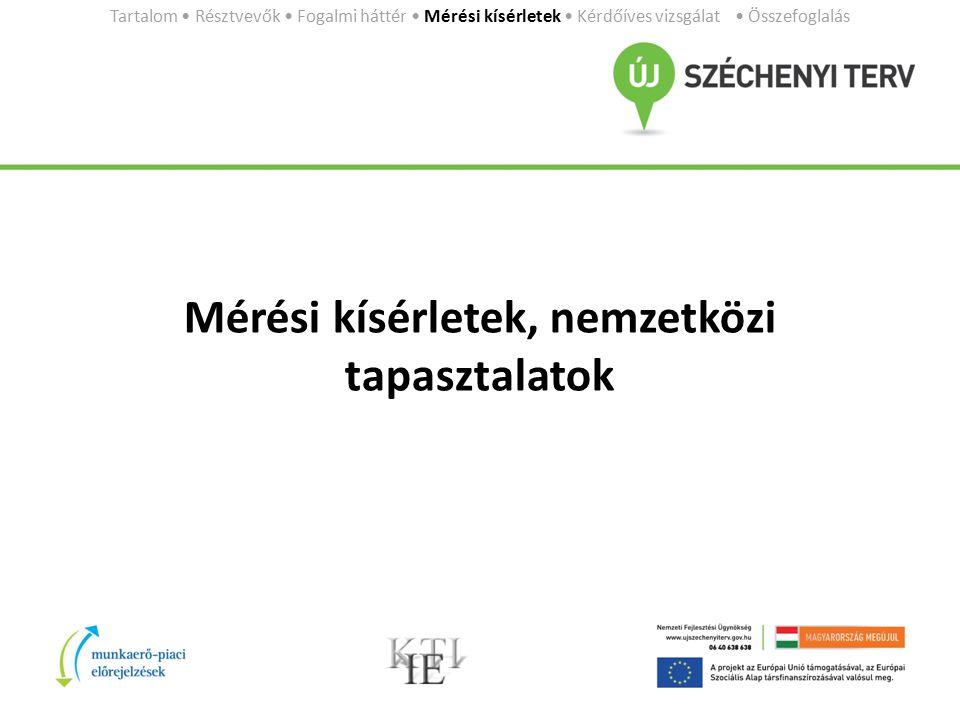 Mérési kísérletek, nemzetközi tapasztalatok Tartalom Résztvevők Fogalmi háttér Mérési kísérletek Kérdőíves vizsgálat Összefoglalás