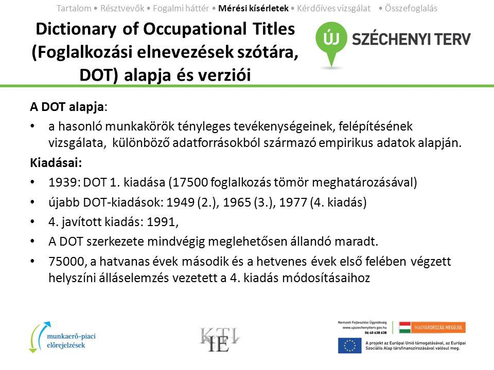 Dictionary of Occupational Titles (Foglalkozási elnevezések szótára, DOT) alapja és verziói A DOT alapja: a hasonló munkakörök tényleges tevékenységeinek, felépítésének vizsgálata, különböző adatforrásokból származó empirikus adatok alapján.