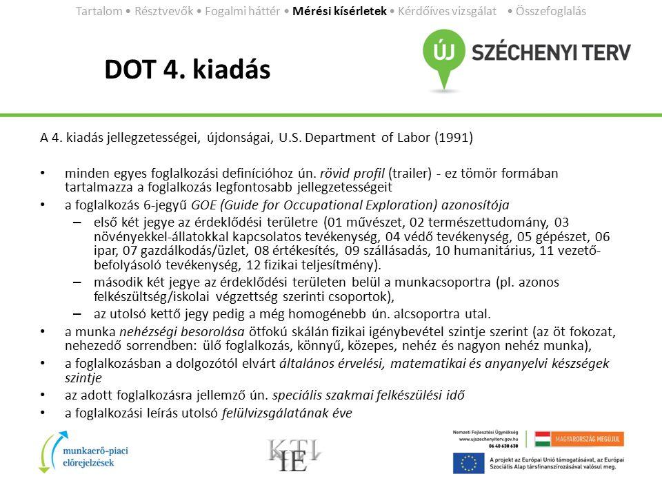 DOT 4. kiadás A 4. kiadás jellegzetességei, újdonságai, U.S. Department of Labor (1991) minden egyes foglalkozási definícióhoz ún. rövid profil (trail