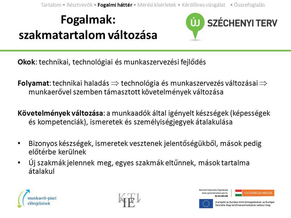 Fogalmak: szakmatartalom változása Okok: technikai, technológiai és munkaszervezési fejlődés Folyamat: technikai haladás  technológia és munkaszervez