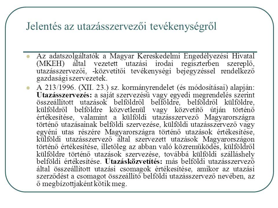 Jelentés az utazásszervezői tevékenységről Az adatszolgáltatók a Magyar Kereskedelmi Engedélyezési Hivatal (MKEH) által vezetett utazási irodai regisz