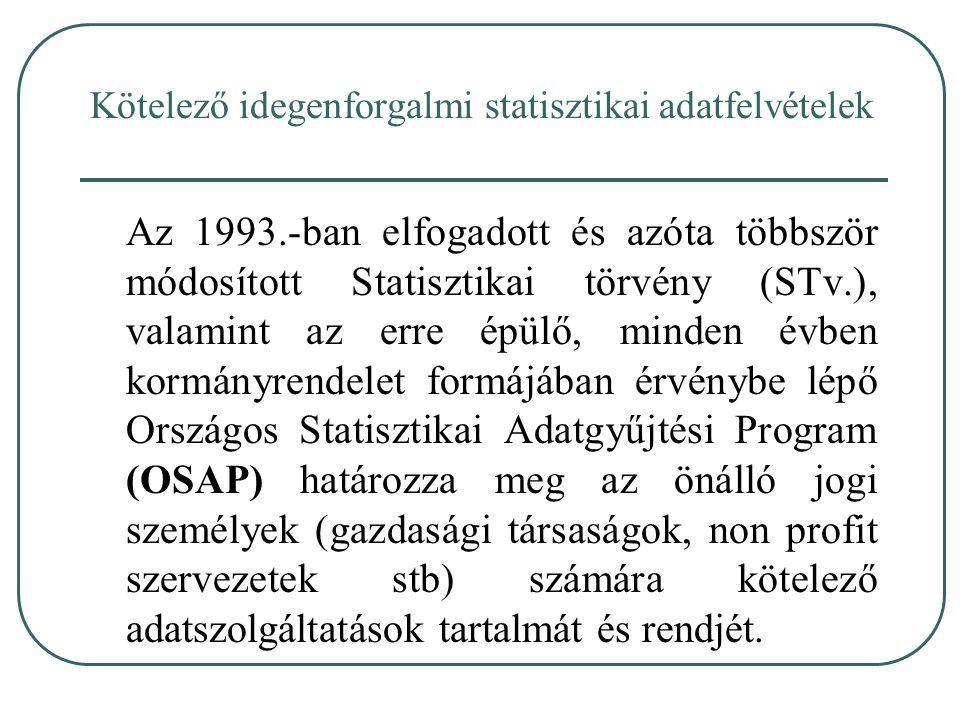 Az 1993.-ban elfogadott és azóta többször módosított Statisztikai törvény (STv.), valamint az erre épülő, minden évben kormányrendelet formájában érvé