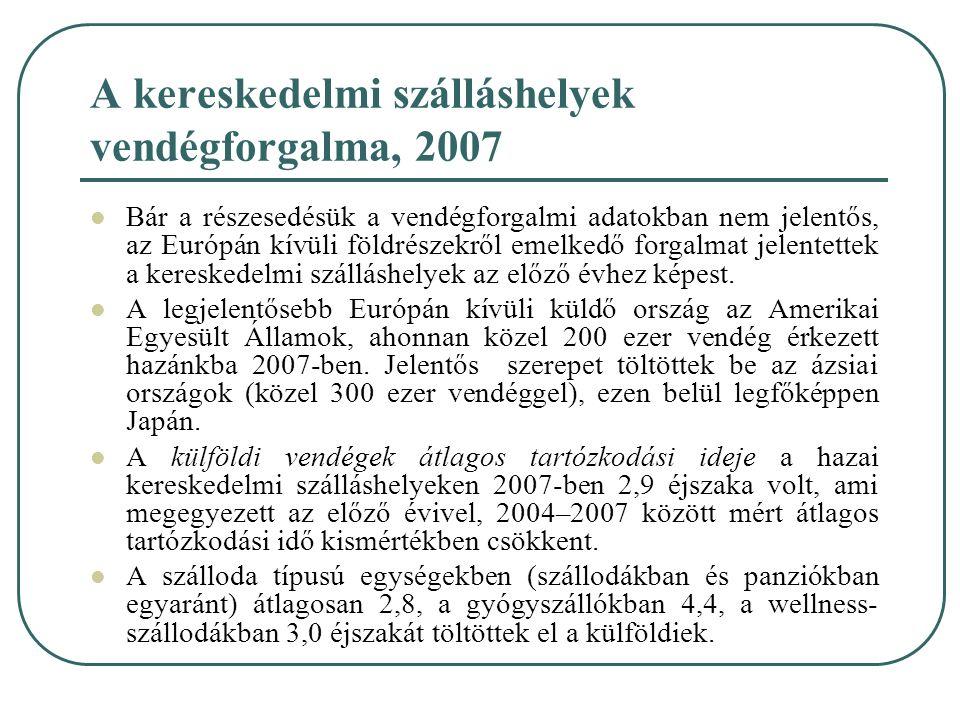 A kereskedelmi szálláshelyek vendégforgalma, 2007 Bár a részesedésük a vendégforgalmi adatokban nem jelentős, az Európán kívüli földrészekről emelkedő