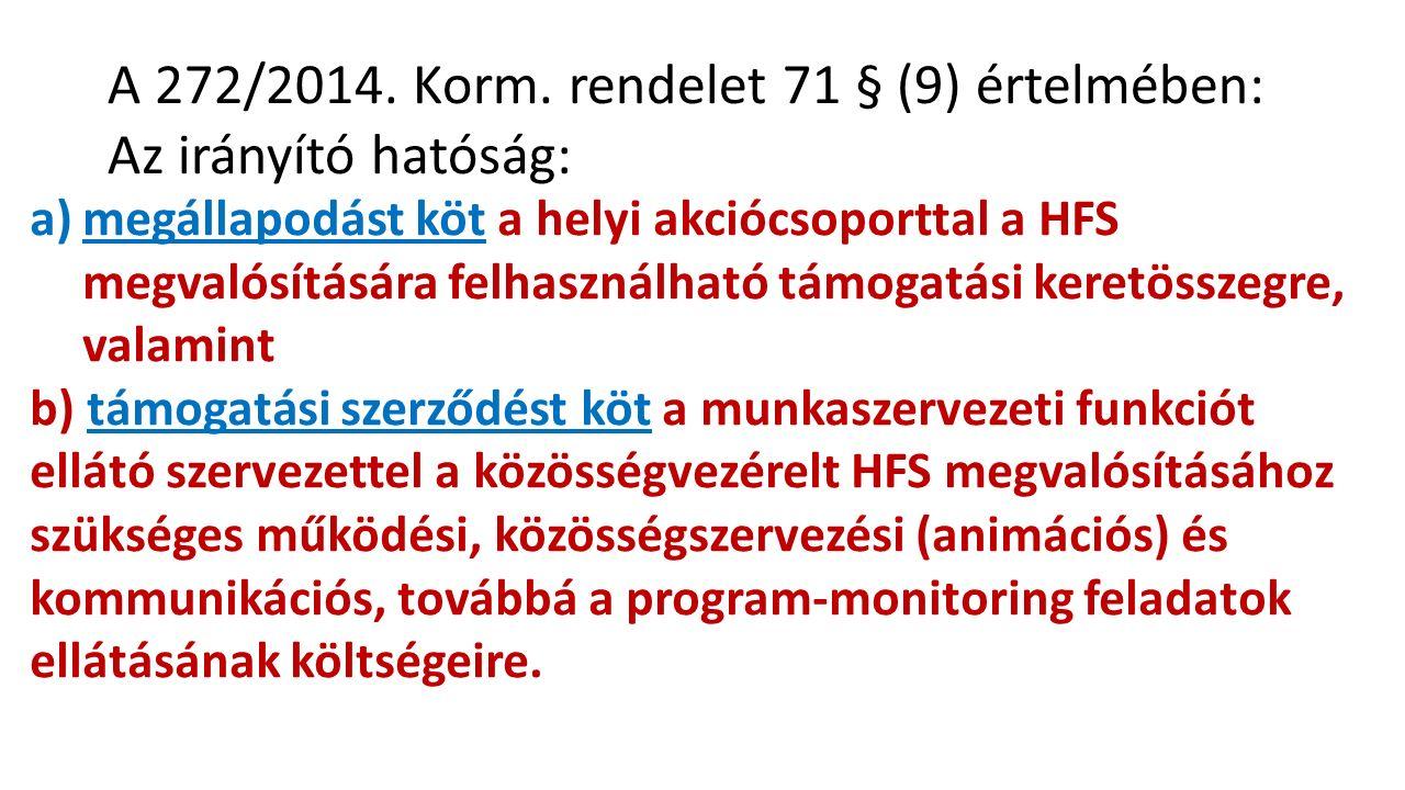 a)megállapodást köt a helyi akciócsoporttal a HFS megvalósítására felhasználható támogatási keretösszegre, valamint b) támogatási szerződést köt a munkaszervezeti funkciót ellátó szervezettel a közösségvezérelt HFS megvalósításához szükséges működési, közösségszervezési (animációs) és kommunikációs, továbbá a program-monitoring feladatok ellátásának költségeire.