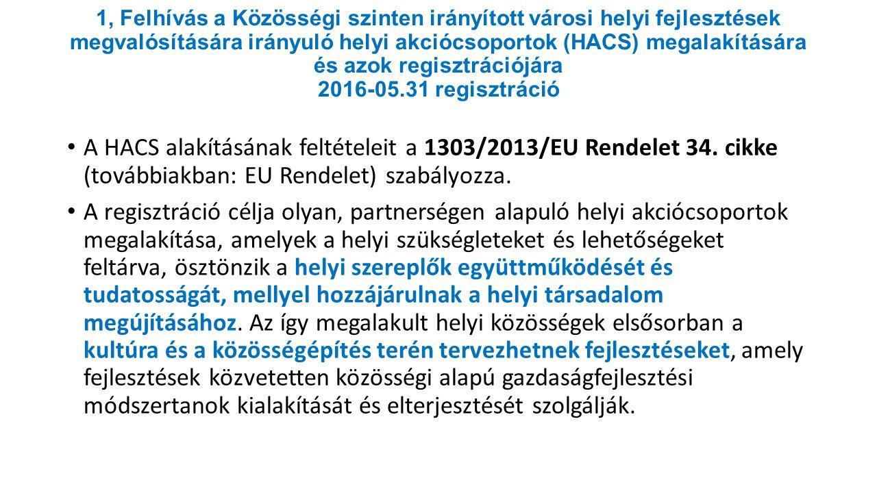 1, Felhívás a Közösségi szinten irányított városi helyi fejlesztések megvalósítására irányuló helyi akciócsoportok (HACS) megalakítására és azok regisztrációjára 2016-05.31 regisztráció A HACS alakításának feltételeit a 1303/2013/EU Rendelet 34.