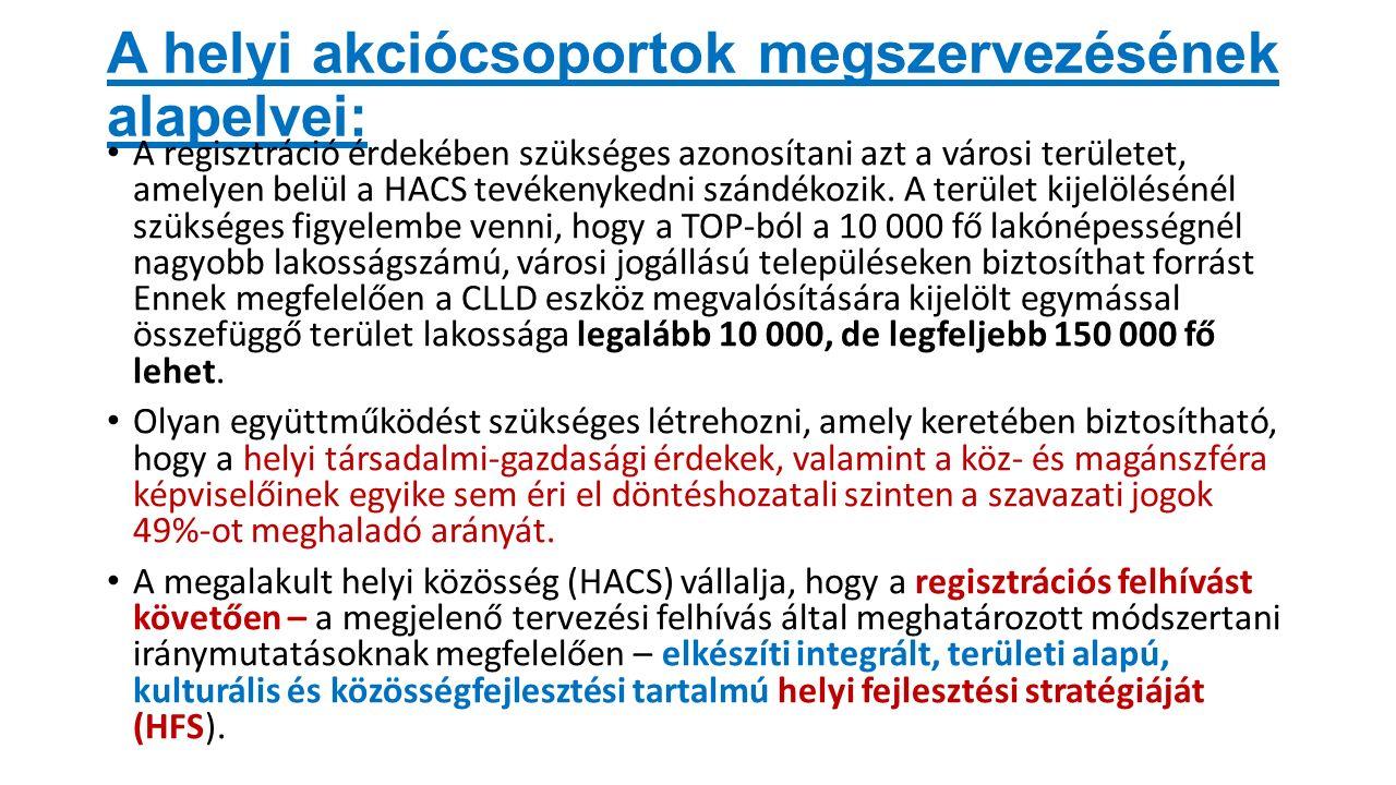 A helyi akciócsoportok megszervezésének alapelvei: A regisztráció érdekében szükséges azonosítani azt a városi területet, amelyen belül a HACS tevékenykedni szándékozik.