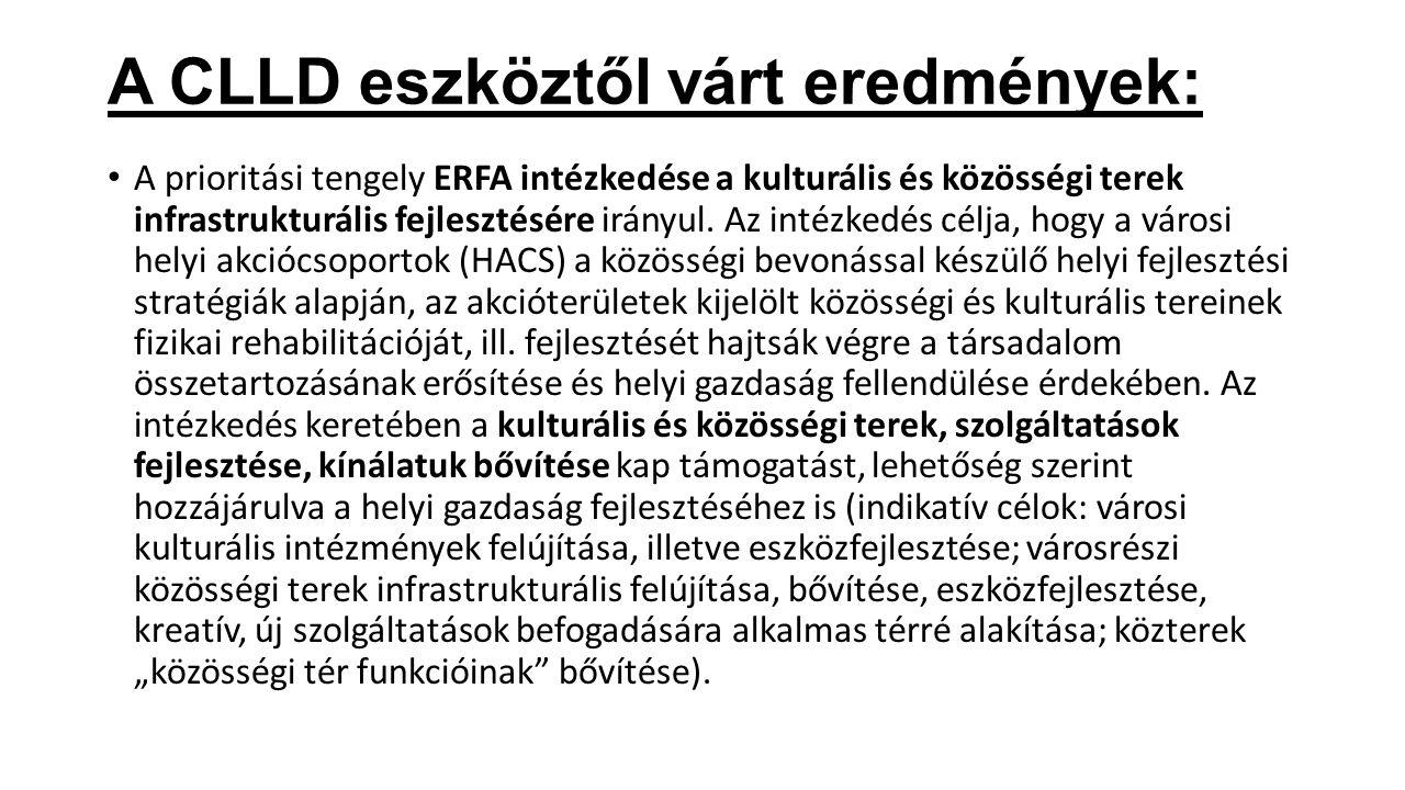 ERFA-ESZA (két alap) A prioritási tengely ESZA intézkedése a helyi közösségszervezésre irányul a városi helyi fejlesztési stratégiához kapcsolódva.