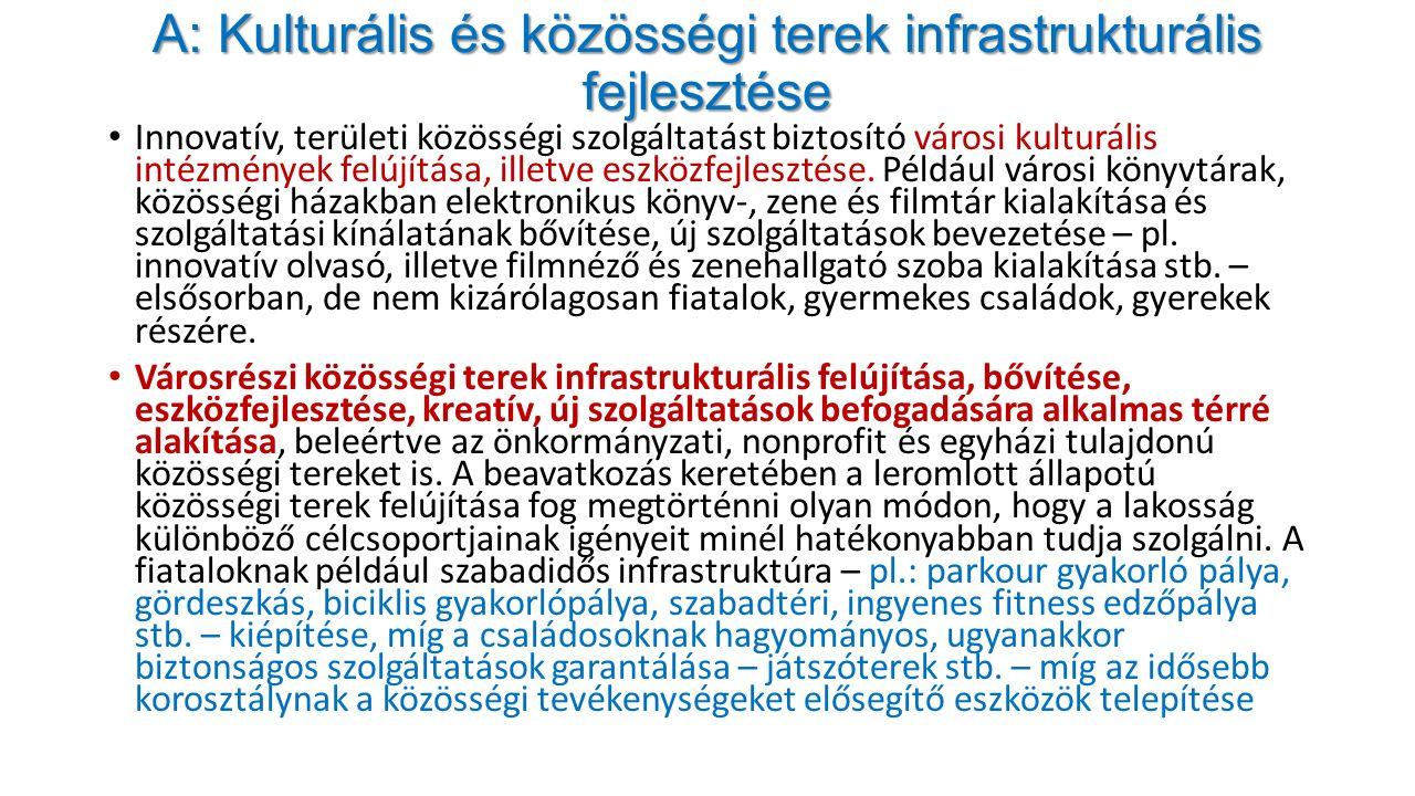 """A: Kulturális és közösségi terek infrastrukturális fejlesztése Közterek """"közösségi tér funkcióinak bővítése."""