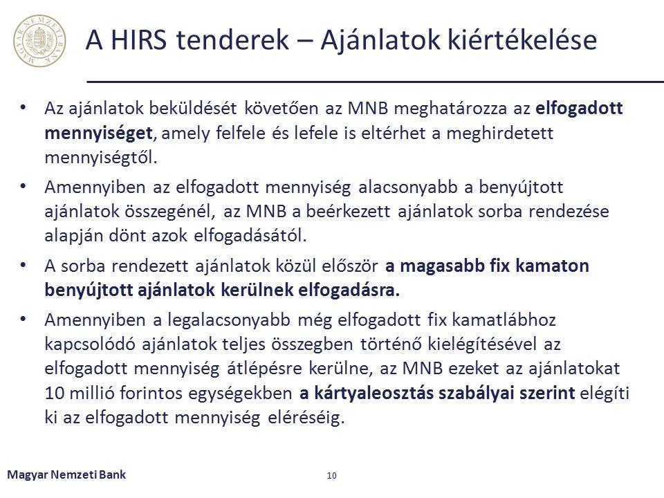 Magyar Nemzeti Bank 10 A HIRS tenderek – Ajánlatok kiértékelése Az ajánlatok beküldését követően az MNB meghatározza az elfogadott mennyiséget, amely felfele és lefele is eltérhet a meghirdetett mennyiségtől.