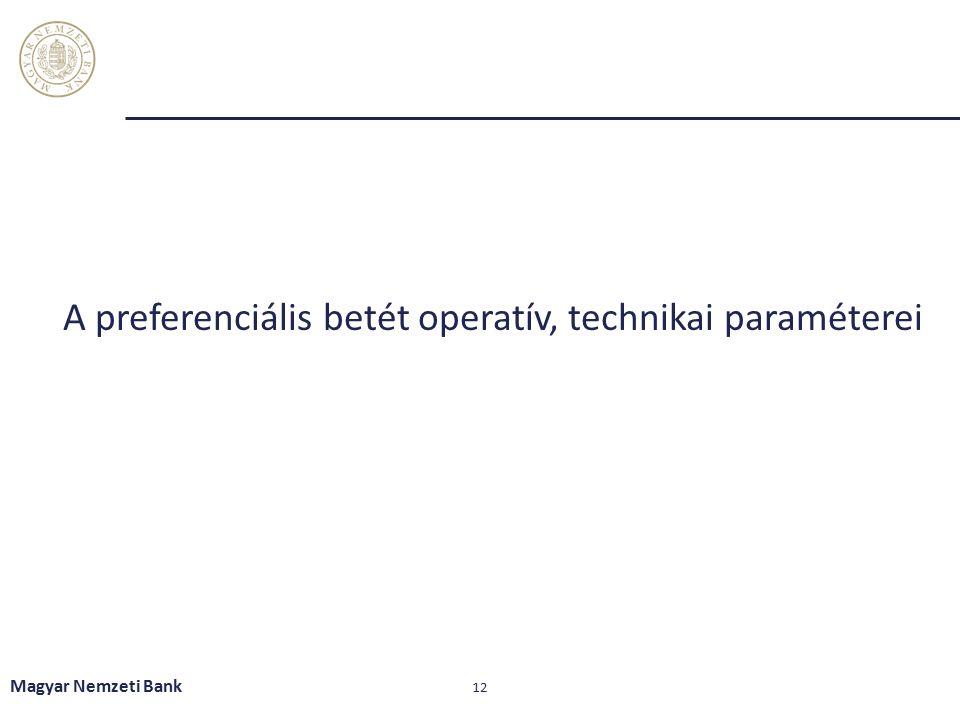 A preferenciális betét operatív, technikai paraméterei Magyar Nemzeti Bank 12