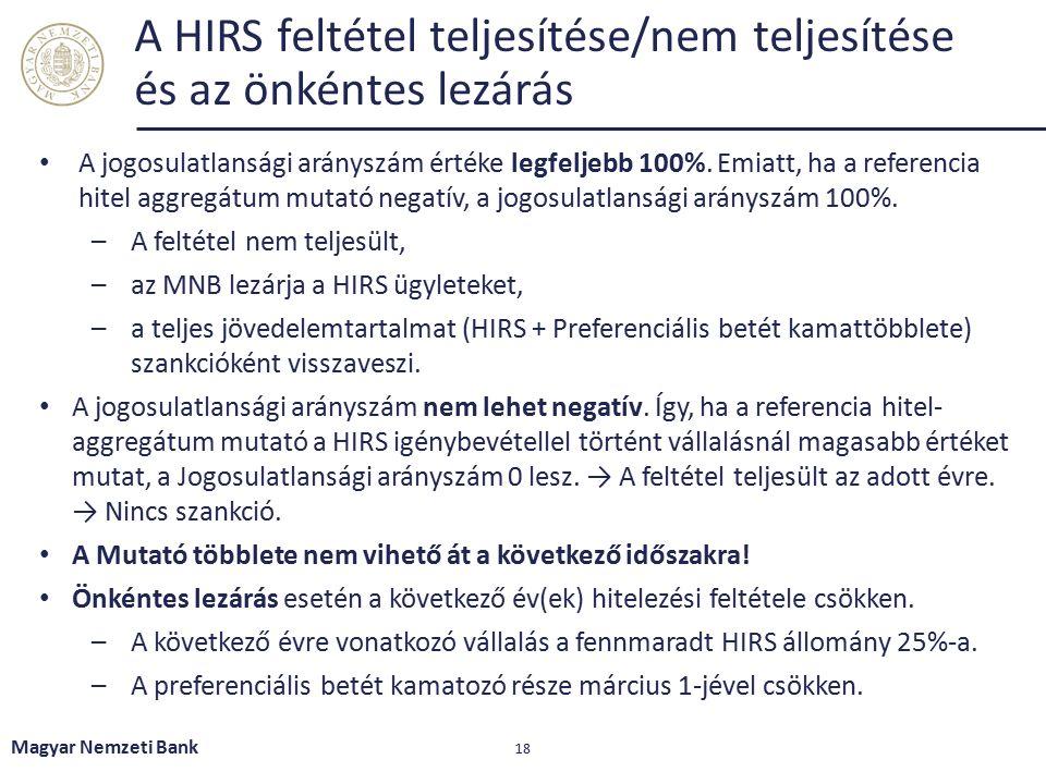 Magyar Nemzeti Bank 18 A HIRS feltétel teljesítése/nem teljesítése és az önkéntes lezárás A jogosulatlansági arányszám értéke legfeljebb 100%. Emiatt,
