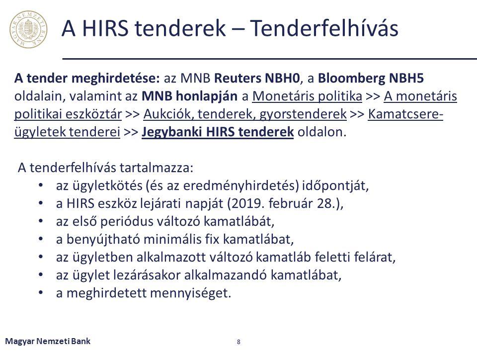 Magyar Nemzeti Bank 8 A HIRS tenderek – Tenderfelhívás A tender meghirdetése: az MNB Reuters NBH0, a Bloomberg NBH5 oldalain, valamint az MNB honlapján a Monetáris politika >> A monetáris politikai eszköztár >> Aukciók, tenderek, gyorstenderek >> Kamatcsere- ügyletek tenderei >> Jegybanki HIRS tenderek oldalon.Monetáris politikaA monetáris politikai eszköztárAukciók, tenderek, gyorstenderekKamatcsere- ügyletek tendereiJegybanki HIRS tenderek A tenderfelhívás tartalmazza: az ügyletkötés (és az eredményhirdetés) időpontját, a HIRS eszköz lejárati napját (2019.