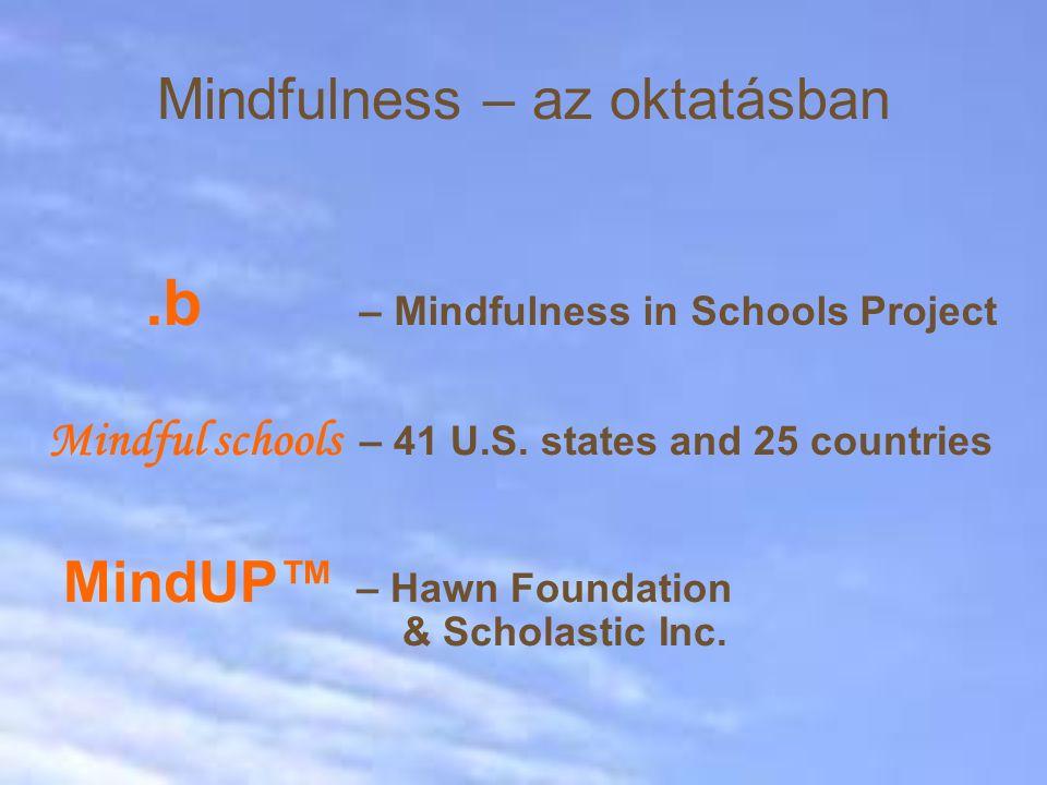 Mindfulness – az oktatásban MindUP™ – Hawn Foundation & Scholastic Inc..b – Mindfulness in Schools Project Mindful schools – 41 U.S. states and 25 cou