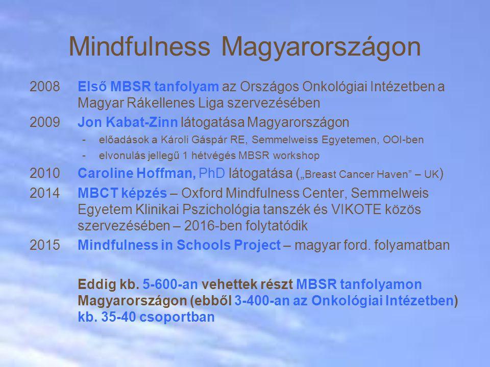 """Mindfulness Magyarországon 2008Első MBSR tanfolyam az Országos Onkológiai Intézetben a Magyar Rákellenes Liga szervezésében 2009Jon Kabat-Zinn látogatása Magyarországon -előadások a Károli Gáspár RE, Semmelweiss Egyetemen, OOI-ben -elvonulás jellegű 1 hétvégés MBSR workshop 2010Caroline Hoffman, PhD látogatása ("""" Breast Cancer Haven – UK ) 2014MBCT képzés – Oxford Mindfulness Center, Semmelweis Egyetem Klinikai Pszichológia tanszék és VIKOTE közös szervezésében – 2016-ben folytatódik 2015Mindfulness in Schools Project – magyar ford."""