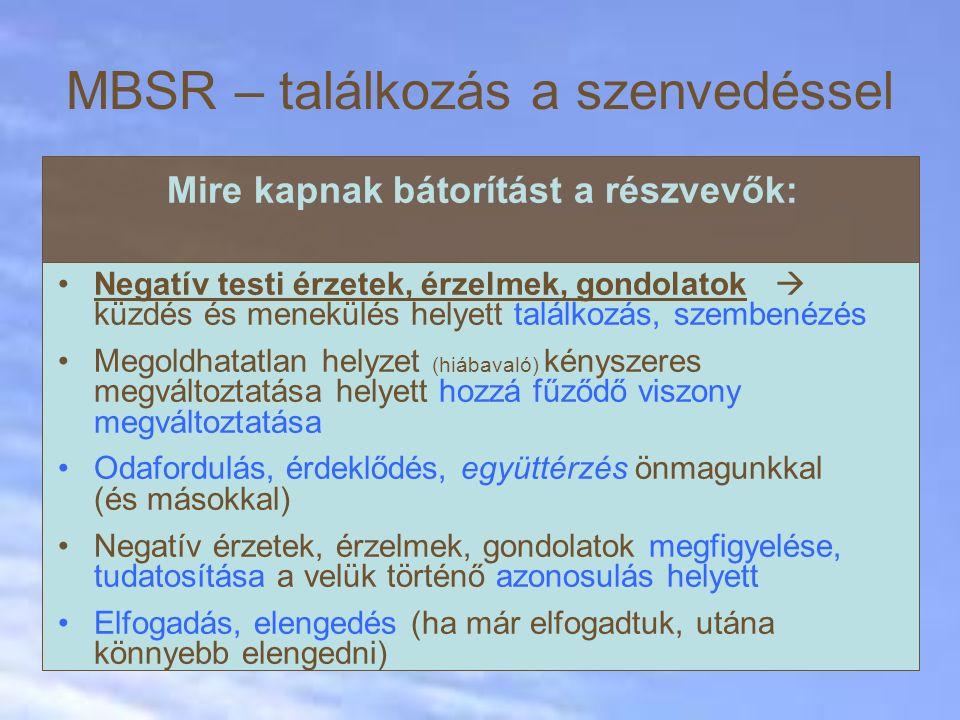 MBSR – találkozás a szenvedéssel Mire kapnak bátorítást a részvevők: Negatív testi érzetek, érzelmek, gondolatok  küzdés és menekülés helyett találko