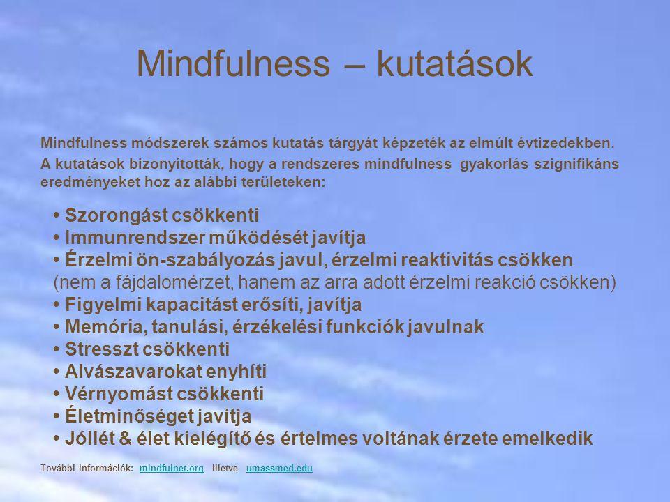 Mindfulness módszerek számos kutatás tárgyát képzeték az elmúlt évtizedekben. A kutatások bizonyították, hogy a rendszeres mindfulness gyakorlás szign