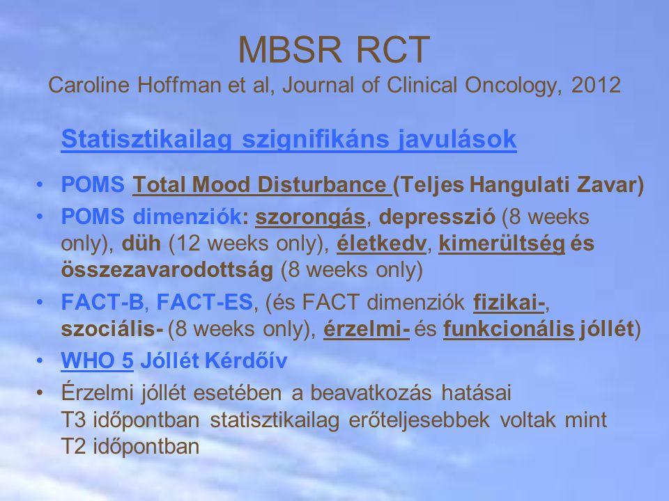 Statisztikailag szignifikáns javulások POMS Total Mood Disturbance (Teljes Hangulati Zavar) POMS dimenziók: szorongás, depresszió (8 weeks only), düh (12 weeks only), életkedv, kimerültség és összezavarodottság (8 weeks only) FACT-B, FACT-ES, (és FACT dimenziók fizikai-, szociális- (8 weeks only), érzelmi- és funkcionális jóllét) WHO 5 Jóllét Kérdőív Érzelmi jóllét esetében a beavatkozás hatásai T3 időpontban statisztikailag erőteljesebbek voltak mint T2 időpontban MBSR RCT Caroline Hoffman et al, Journal of Clinical Oncology, 2012