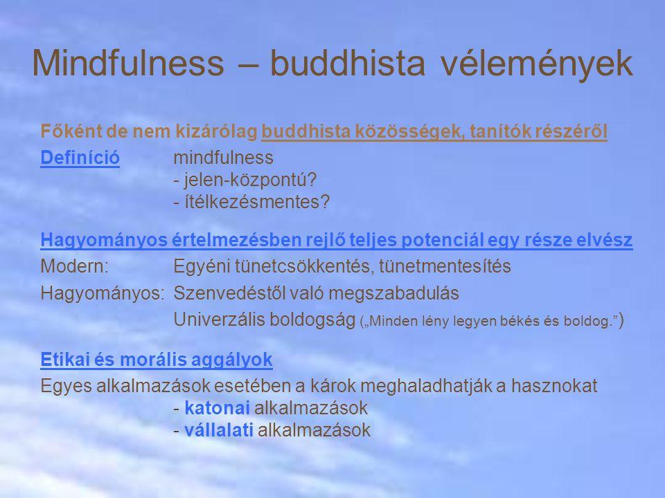 Főként de nem kizárólag buddhista közösségek, tanítók részéről Definíció mindfulness - jelen-központú? - ítélkezésmentes? Hagyományos értelmezésben re