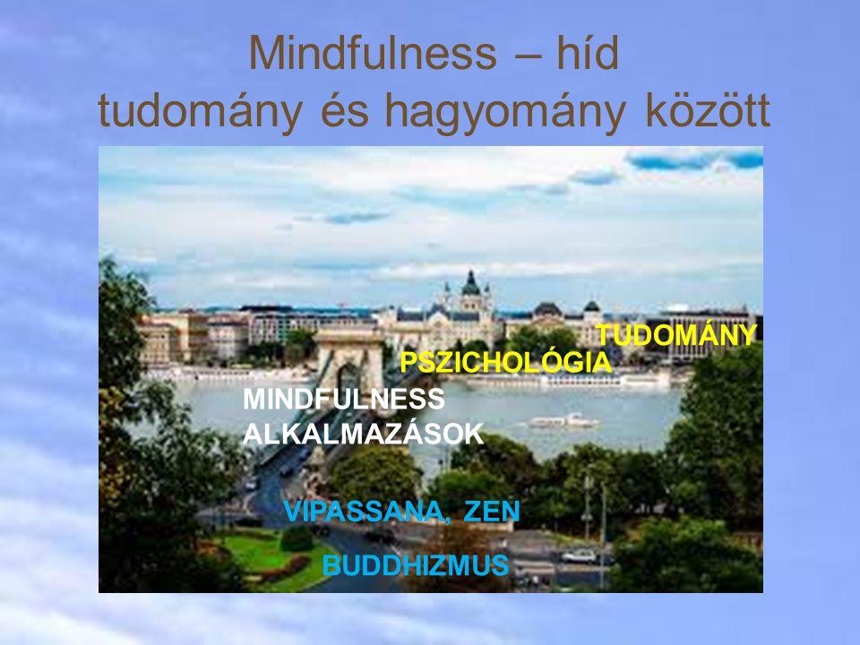 Mindfulness – híd tudomány és hagyomány között TUDOMÁNY PSZICHOLÓGIA MINDFULNESS ALKALMAZÁSOK VIPASSANA, ZEN BUDDHIZMUS