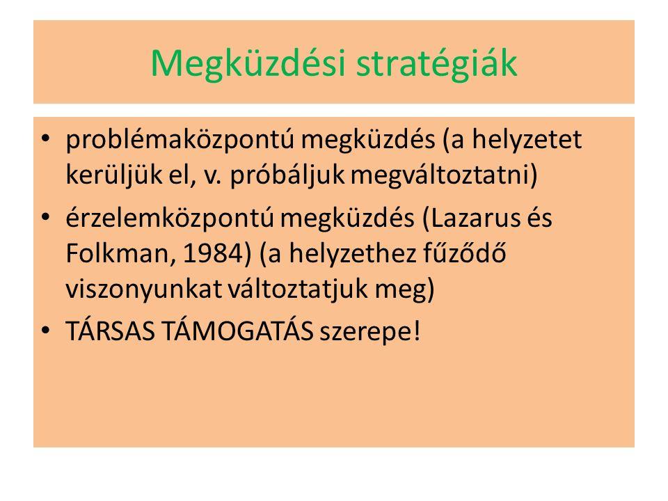 Megküzdési stratégiák problémaközpontú megküzdés (a helyzetet kerüljük el, v.
